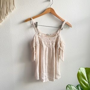American Eagle Outfitters Shoulder Cut Top Cream